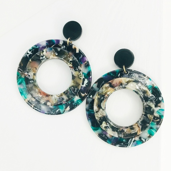 CLOSET REHAB Jewelry - Double Stacked Open Circle Earrings in Turquoise